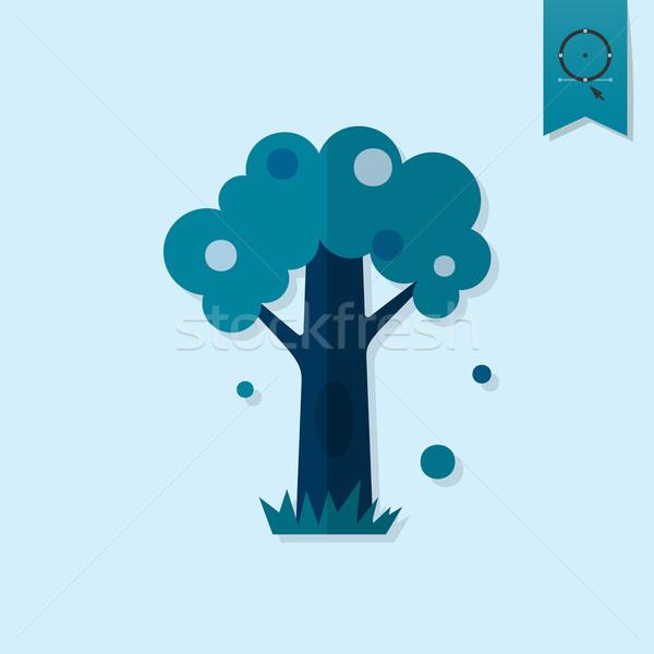 Gestileerde boom hol najaar icon eenvoudige Stockfoto © HelenStock