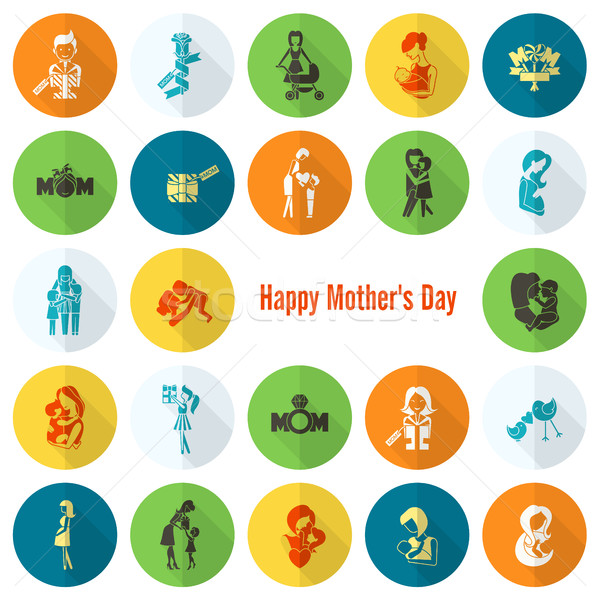 Happy Mothers Day Icons Stock photo © HelenStock