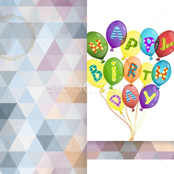 Carte de vœux modèle de conception coloré anniversaire texture fête Photo stock © HelenStock