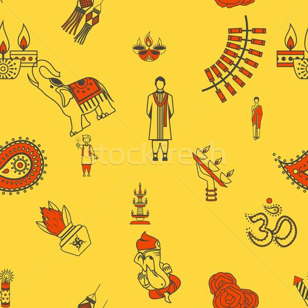 Indian festival diwali vector bloem Stockfoto © HelenStock