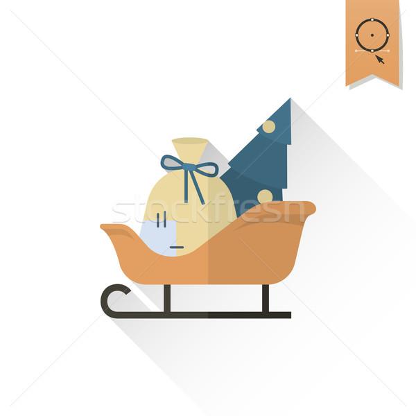 Рождества сани ретро цвета вектора долго Сток-фото © HelenStock