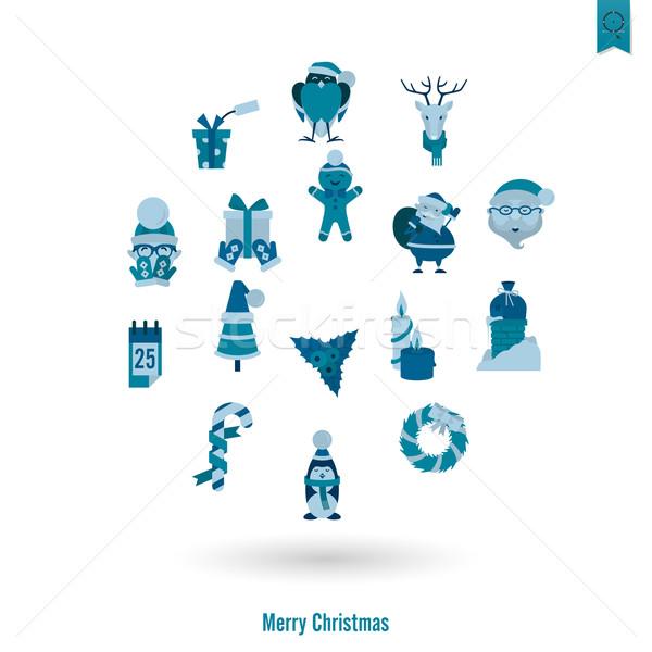 Navidad invierno iconos colección monocromo color Foto stock © HelenStock