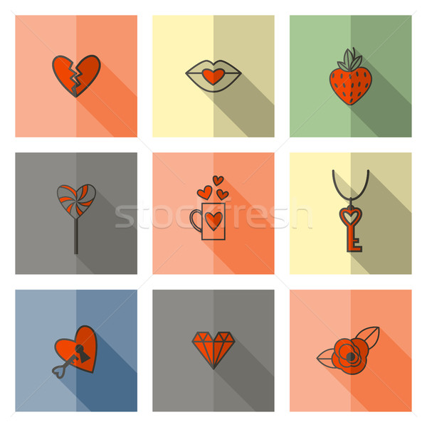 Happy Valentines Day Icons Stock photo © HelenStock