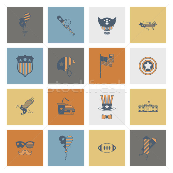 Tag einfache Symbole Vektor Karte Stock foto © HelenStock