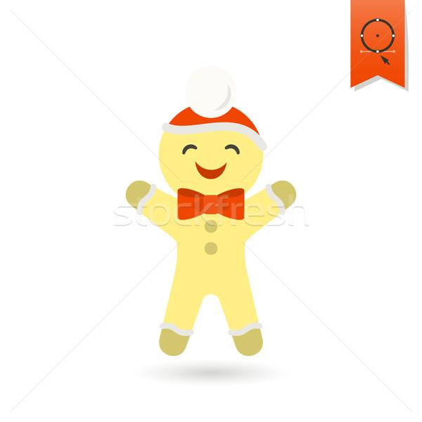 Gingerbread man colorido vetor sorrir assinar diversão Foto stock © HelenStock