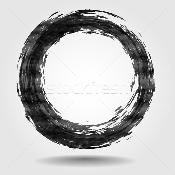 Fekete ecset űrlap kör eps 10 Stock fotó © HelenStock