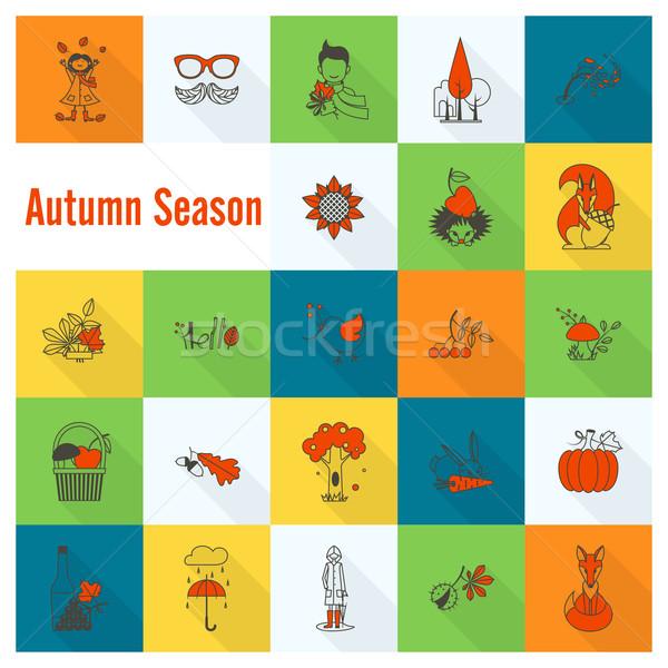Set of Flat Autumn Icons Stock photo © HelenStock