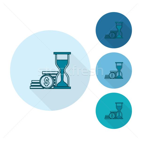 Tijd is geld business financieren icon eenvoudige Stockfoto © HelenStock
