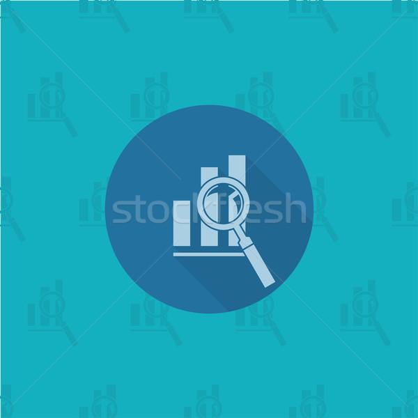 Foto stock: Lupa · gráfico · de · barras · negocios · financiar · icono · simple