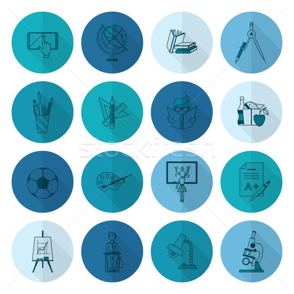 школы образование иконки дизайна стиль Сток-фото © HelenStock