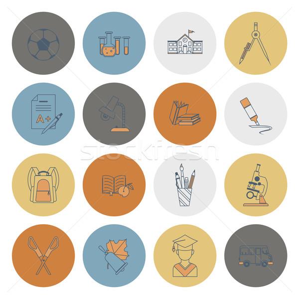 Escolas educação ícones projeto estilo Foto stock © HelenStock