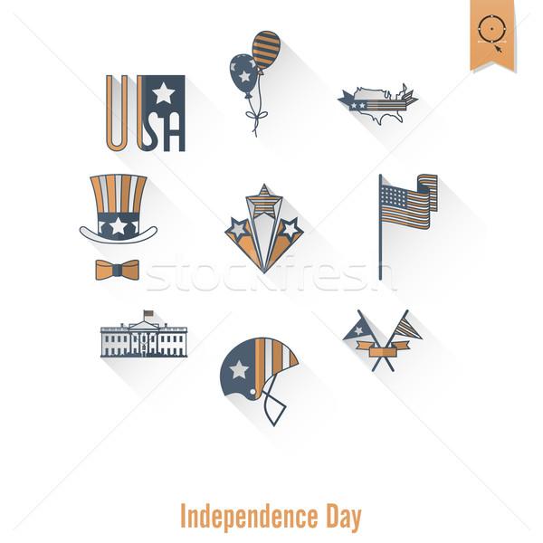 Gün Amerika Birleşik Devletleri basit simgeler vektör Stok fotoğraf © HelenStock