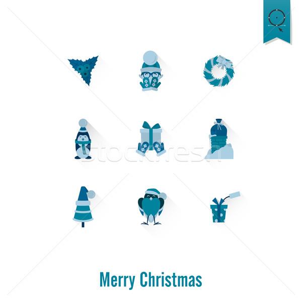 Christmas zimą ikona kolekcja monochromatyczny kolor Zdjęcia stock © HelenStock