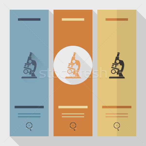 Iskola oktatás ikonok ikon mikroszkóp terv Stock fotó © HelenStock