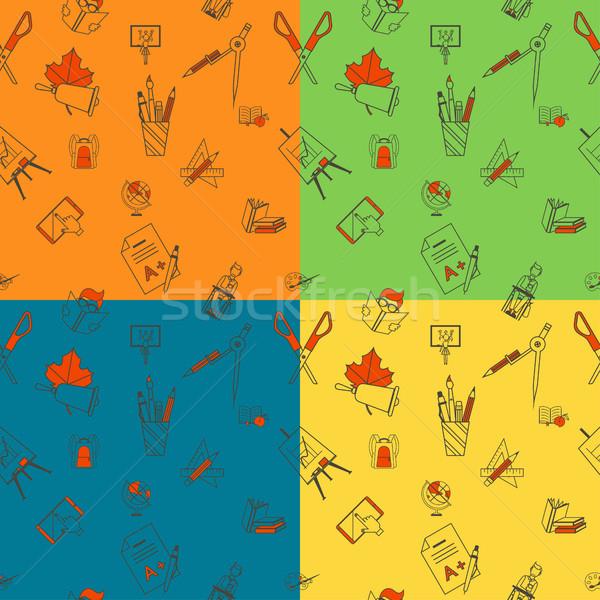 Сток-фото: Снова · в · школу · школы · четыре · различный · цветами