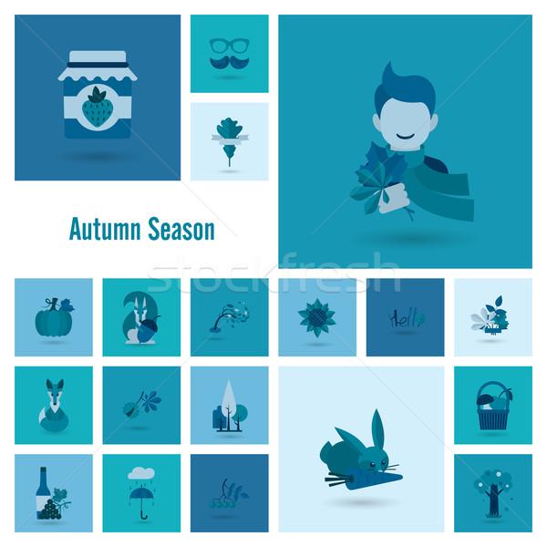 Сток-фото: набор · осень · иконки · простой