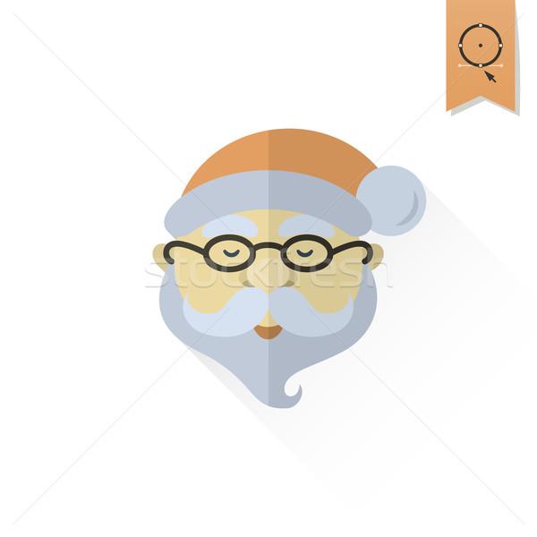 Kerstman hoofd lang schaduw retro kleur Stockfoto © HelenStock