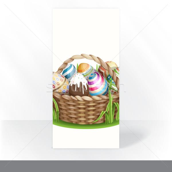 Пасху корзины полный пасхальных яиц Сток-фото © HelenStock