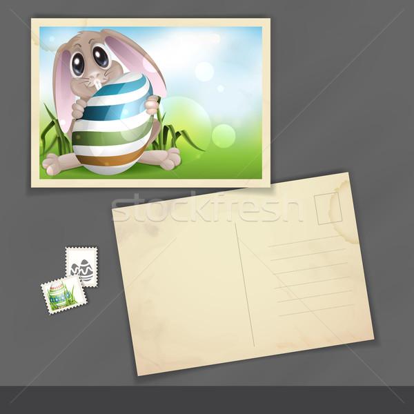 Conejo de Pascua colorido huevo edad postal plantilla de diseño Foto stock © HelenStock