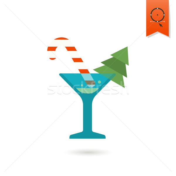 Christmas cocktail kleurrijk vector glas teken Stockfoto © HelenStock