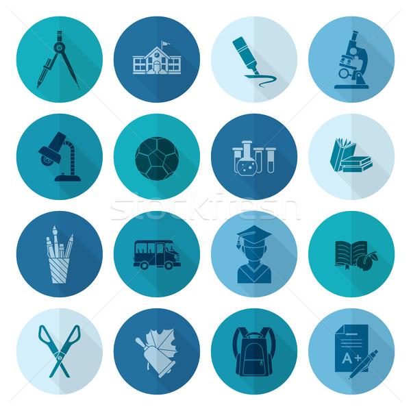Stock fotó: Iskola · oktatás · ikonok · ikon · gyűjtemény · terv · stílus