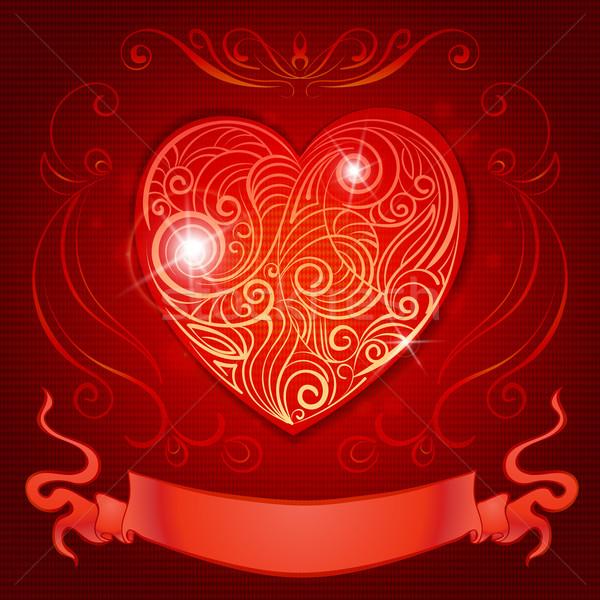 Wenskaart hart lint bruiloft uitnodigingen valentijnsdag Stockfoto © heliburcka