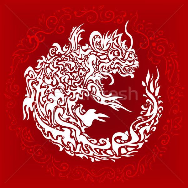 stylized twisted dragon tattoo Stock photo © heliburcka