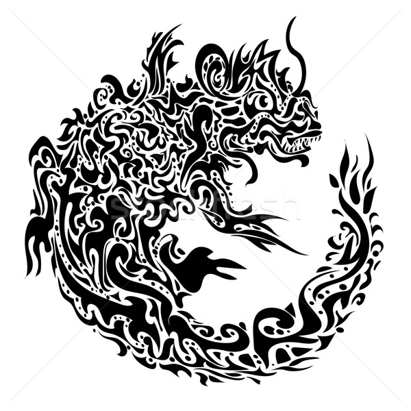 twisted dragon tattoo Stock photo © heliburcka