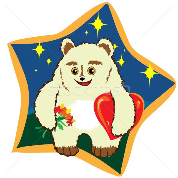 Ursinho de pelúcia grande vermelho coração ilustração doce Foto stock © heliburcka