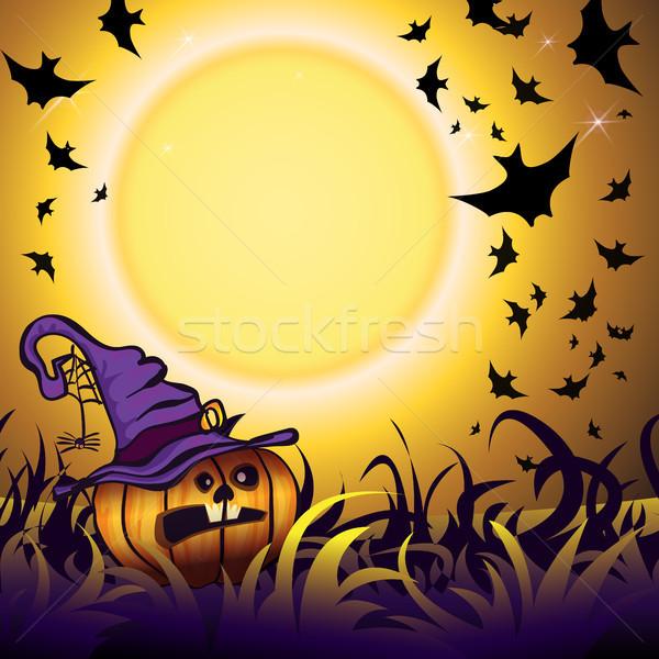 Halloween partij illustratie pompoen gras textuur Stockfoto © heliburcka