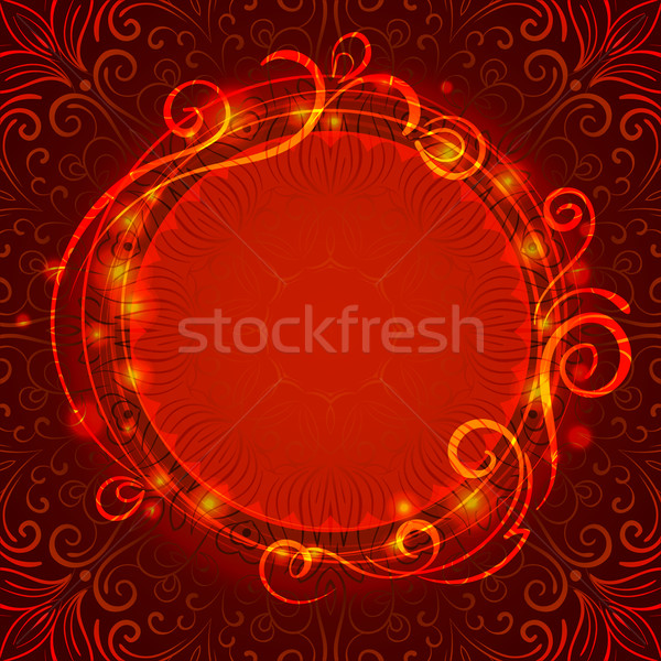 Abstract red mystic lace background with swirl pattern and frame for text Stock photo © heliburcka