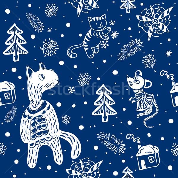 Doodle sneeuwvlokken sneeuwvlok katten muis ontwerp Stockfoto © heliburcka