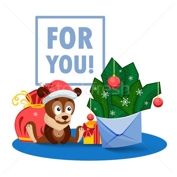Puppy zak geschenken envelop Stockfoto © heliburcka