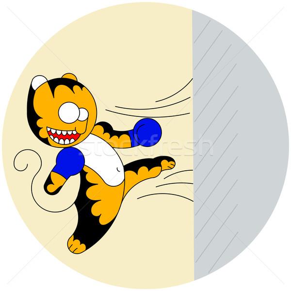 вектора Cartoon Cute молодые тигр боевыми искусствами Сток-фото © heliburcka