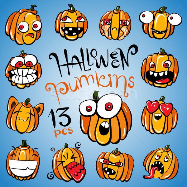 Set of Halloween pumpkins Stock photo © heliburcka