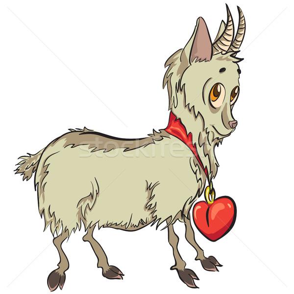 Pequeno cabra coração engraçado vermelho flor Foto stock © heliburcka