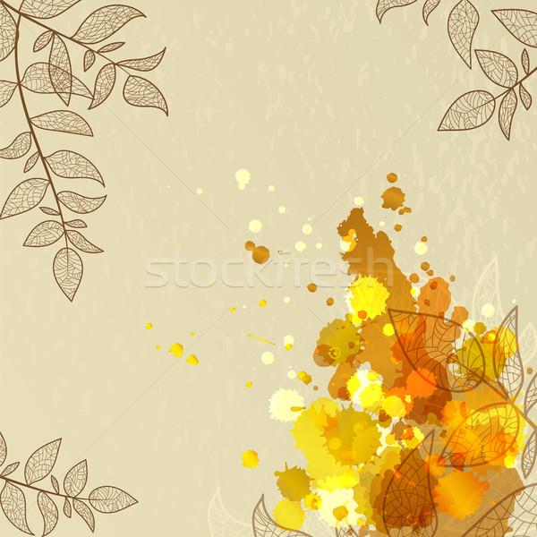 Geel bladeren najaar promotie uitnodiging ontwerp Stockfoto © heliburcka