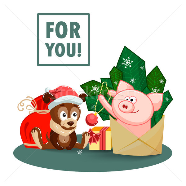 A puppy, a bag, gifts and a joyful pig jumping out of an envelope to decorate the fir branches. Stock photo © heliburcka
