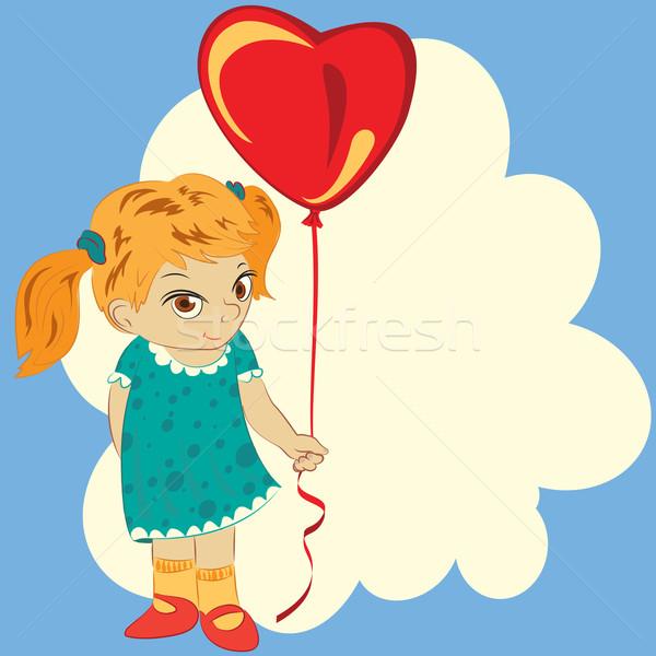 Meisje ballon hart wolken glimlach bruiloft Stockfoto © heliburcka