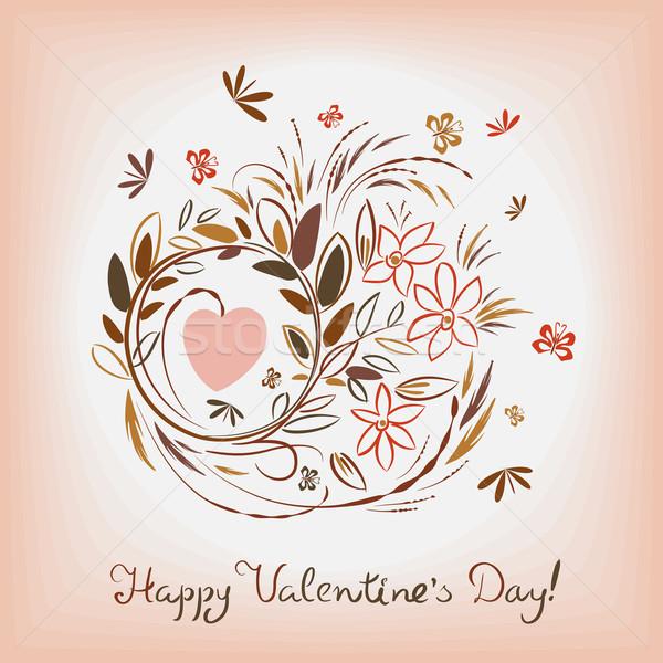 Elegante patroon kaart valentijnsdag bloem Stockfoto © heliburcka