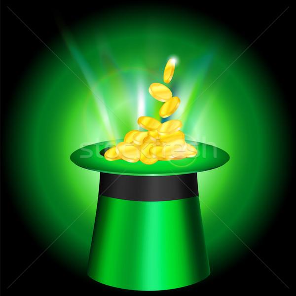 Cap gouden munten heldere licht voorjaar kunst Stockfoto © heliburcka
