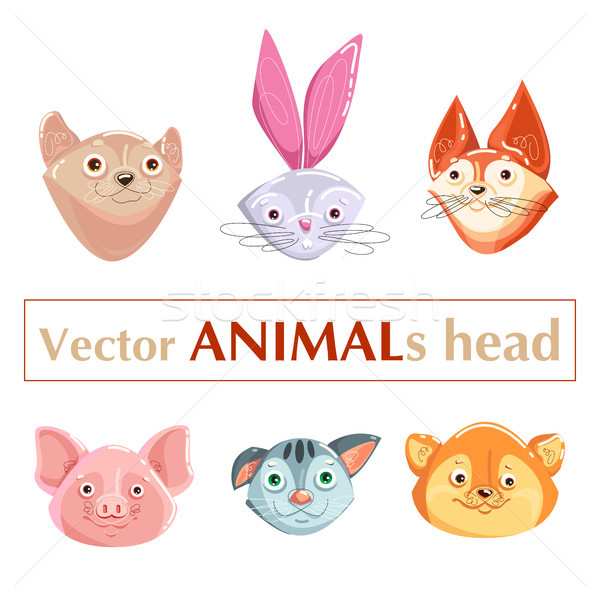 Zwierząt zestaw głowie kaganiec pysk Zdjęcia stock © heliburcka