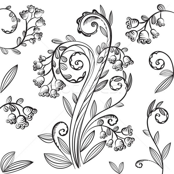 Decoratief patroon bladeren bloemen bloem Stockfoto © heliburcka