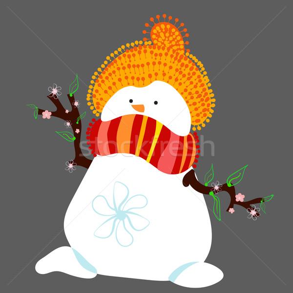 Sneeuwpop voorjaar geïsoleerd hoed sjaal Stockfoto © heliburcka