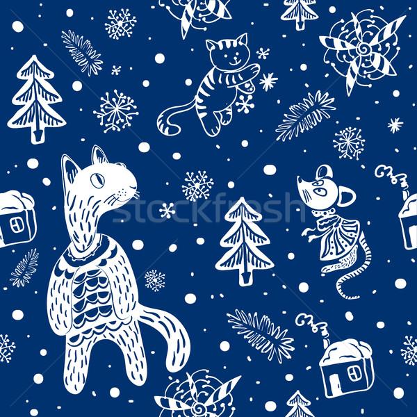 Patroon doodle sneeuwvlokken sneeuwvlok katten muis Stockfoto © heliburcka