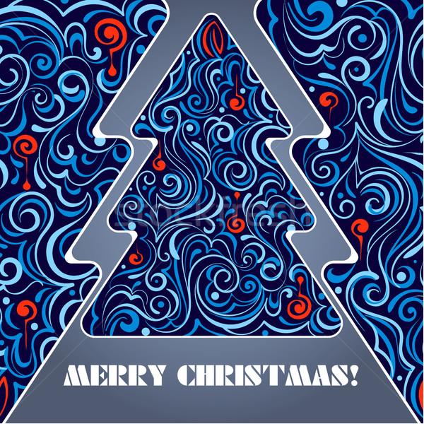 Kaart kerstboom vector poster uitnodiging eps Stockfoto © heliburcka