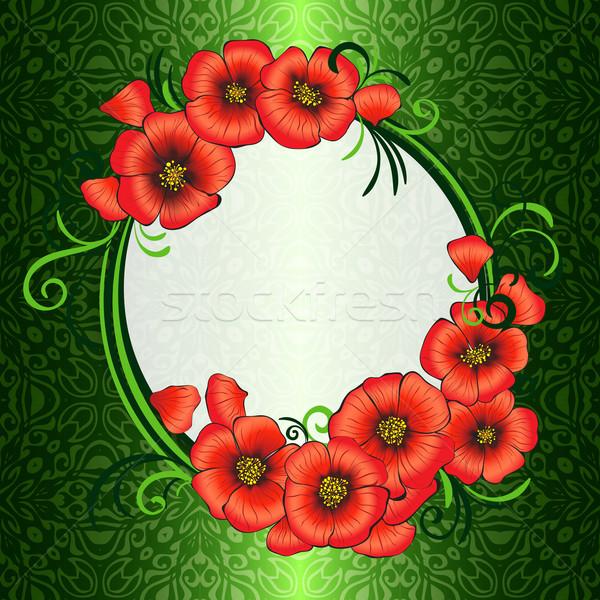 Foto stock: Quadro · vermelho · verde · damasco · eps