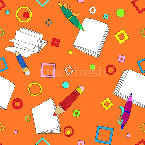 School merkt oranje tools tekening Stockfoto © heliburcka