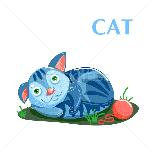Educational flashcard kitten resting after a game with a ball of threads Stock photo © heliburcka