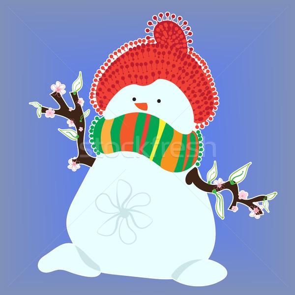 Sneeuwpop voorjaar Blauw hoed sjaal Stockfoto © heliburcka
